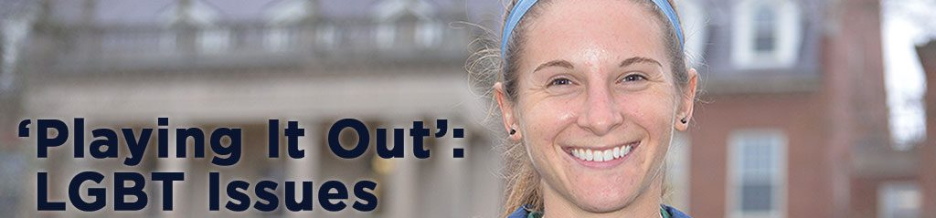 """student female athlete smiling, banner reading """"LGBT issues in sport"""""""
