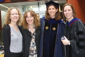 Ann Traynor, Lisa Nesbitt, Laura Burton and Jennie McGarry at Neag School's Graduation