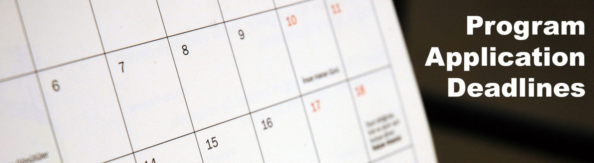 calendar showcasing program application deadlines