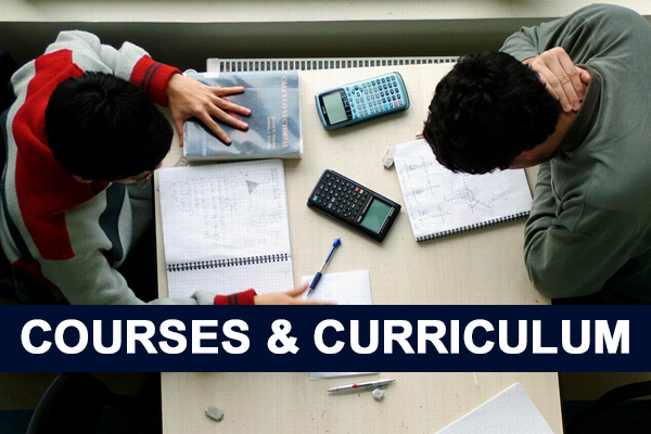 2 male students studying.  Text reads: Courses & Curriculum