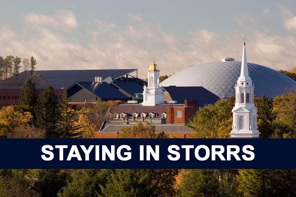 Campus view of Gampel, text reads: Staying in Storrs