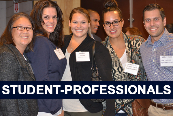 Students from UCAPP event.  Text reads: Student-Professionals