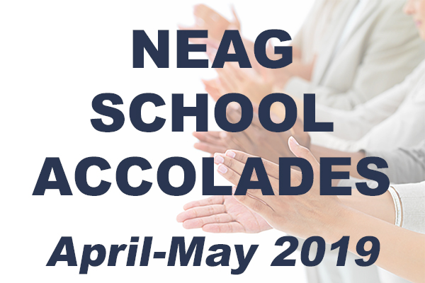 Hands clapping.  Text reads: Neag School Accolades April - May 2019