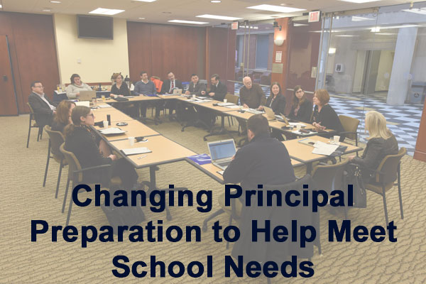 Photo of UConn Wallace UPPI group during a round table meeting.  Text reads: Changing Principal Preparation to help meet school needs