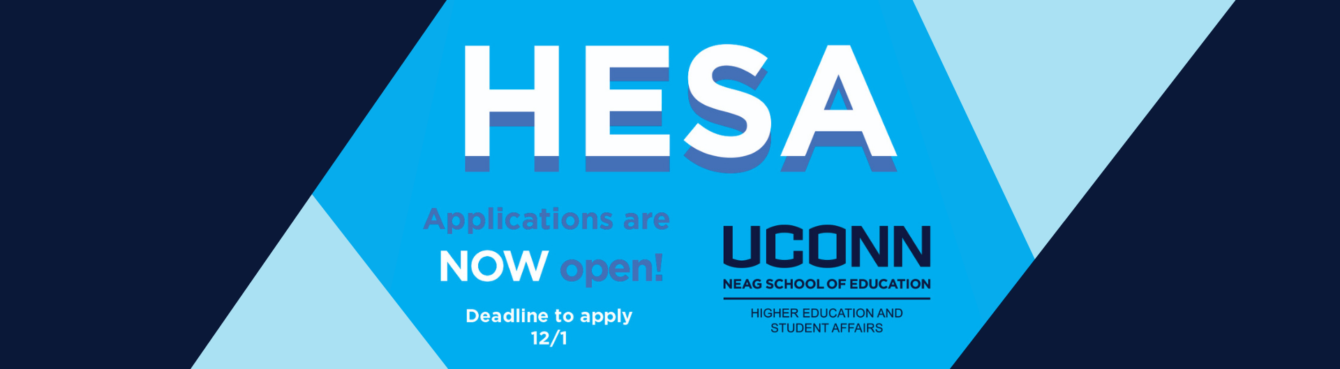 Text reads: HESA Applications are NOW open! Deadline to apply: 12/1